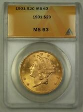 1901 US Liberty Head $20 Gold Coin ANACS MS-63