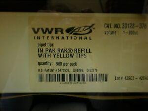 VWR 30128-376 2000ML PIPET TIPS IN PAK RAK REFILL W/YELLOW TIPS - 1920 PCS