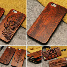 Natural Carved Wood Wooden Pattern Hard Case Cover For iPhone 5 6 7 8 8PLUS