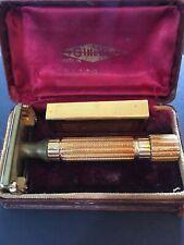 Vintage 1940's Gillette ARISTOCRAT Gold Safety Razor w/ Original Case