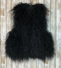 Black Mongolian Lamb Fur Vest XS S Small Custom Tailored AMAZING