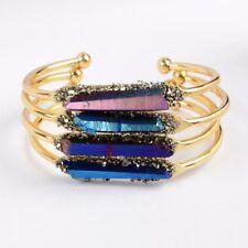 Wholesale 5Pcs Cuff Titanium Druzy Quartz Crystal Point Bangle Golden TG0158