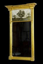 SWC-Large Federal / Classical Giltwood Eglomise Mirror, Probably Boston, c.1815