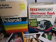 Rare old new stock Polaroid bouton camera boxed + Coffret Flash deux N E W testé