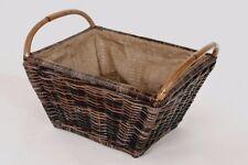 Holzkorb/ Vielzweckkorb aus Rattan mit zwei Henkel und herausnehmbarer Jute