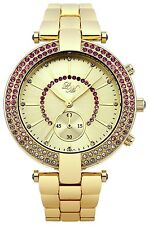 Little Mistress LM010 Ladies Stone Set Gold Dial Gold Bracelet Watch New