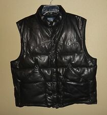 EUC WORN ONCE MENS XL POLO RALPH LAUREN BLACK LEATHER DOWN PUFFER VEST JACKET