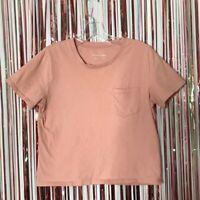 Everlane Womens pink Cotton short sleeve box cut crop pocket tee t-shirt Small S