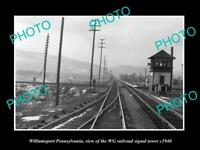 OLD 8x6 HISTORIC PHOTO OF WILLIAMSPORT PENNSYLVANIA WG RAILROAD TOWER c1940