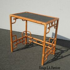 Vintage Tiki Palm Beach Style Bamboo Rattan Side Table
