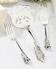 Personalized Bride Groom Silver Plated Server / Fork Set Wedding Reception Gift