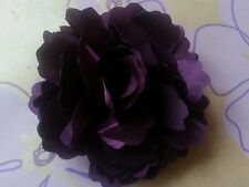 "Girls Womens 3""satin Flower Hair Clip, Brooch, corsage .Purple Aubergine ..UK"