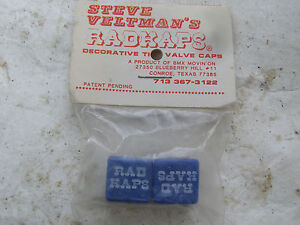 STEVE VELTMANS BLUE RADKAPS VALVE CAPS NOS 80S BMX CRUISER FREESTYLE COVERS