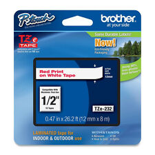 "Brother TZ232 TZe232 1/2"" inch 12mm red on white TZ tape P-Touch PT1880 PT1090"