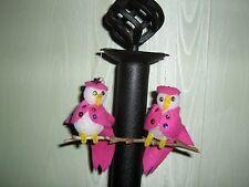 1970s/80s Handmade Lovebird Styrofoam Easter Chick Ornaments w/ Pink Felt Coats