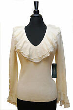 NWT Lauren Ralph Lauren Ladies Sweater  Knit Top Ruffled Blouse Size S MSRP$129