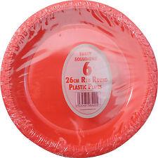 """30 x rouge plaques de plastique rond 26cm 10"""" parti fournitures vaisselle jetable plaque"""