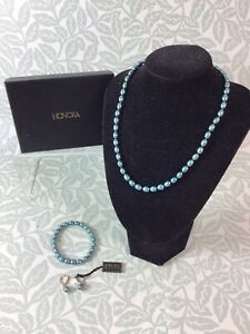 Honora Pearl Necklace Set With Bracelet and Earrings Blue Pearls