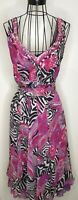 BNWT PER UNA MARKS AND SPENCER pink black animal print maxi dress  coverup UK 14