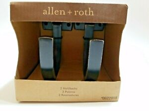 New Allen + Roth Holdback Pair Tie Back Oil Rubbed Bronze Curtain Holders NIB