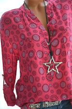 ITALY MODA Tunika MANDALAS Hemd Oversize Bluse PINK Fischerhemd 36 38 40 Neu