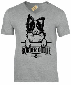 Border Collie T-Shirt Mens dog lover gift present V-Neck Top