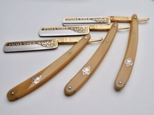 PUMA GOLD Rasiermesser Solingen RARE Straight Razor Classy 7-DAY SET Used,1960s!