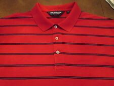 POLO GOLF BY RALPH LAUREN SHIRT RED WITH NAVY STRIPE SIZE XL