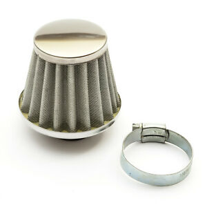 35mm Pitbike Air Filter Silver Performance Mushroom Style Straight Neck