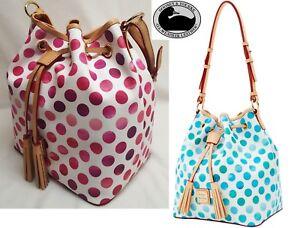 "Dooney & Bourke ""Dots"" Kendall Drawstring purse handbag in Pink or Sea Foam Blue"