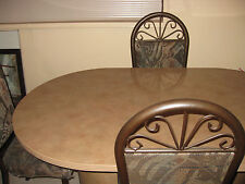 No Shipping- 5 Pieces - Marble Style Oval Dining Table in Brownish Tan Color