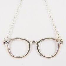 GLASSES NECKLACE spectacles eye eyes nerd nerdy geek kitsch cute tibetan silver