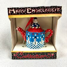 Mary Engelbreit Mini Teapot Ornament Blue Red Winter Snowman Watering Can