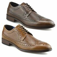 Mens Leather Brogues Smart Casual Formal Office Lace Up Oxford Brogue Shoes Size