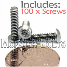 "#4-40 x 1/2"" - BULK QTY 100 - Stainless Steel BUTTON HEAD Socket Cap Screws 304"