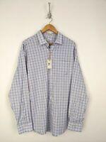 Peter Millar Crown Sport Button Up Shirt Men XL Summer Comfort Blue Plaid