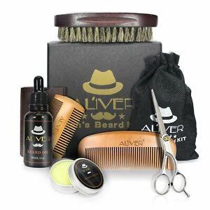 6pcs Men's Beard Care Shampoo Balm Oil Brush Comb Gift Kit Grooming Shaving Set