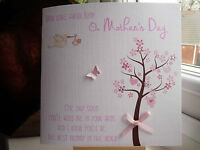 Handmade Personalised From The Bump Mother's Day or Birthday Card Pink, Blue
