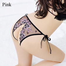 Sexy Open Crotch Lingerie Women Hot Lace Floral G-String Thong Panties Underwear