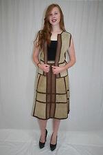 Vintage 70s Tan Brown Suede Crochet Skirt Vest Dress Set Suit Hippie Boho M