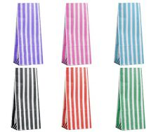 More details for pick 'n' mix candy stripe paper bags block bottom party gifts loot sweets