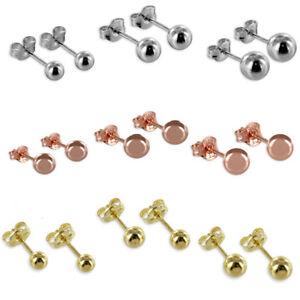 Kugel Ohrstecker Paar / Einzel ECHT 925 Silber Rose Gold Ohrschmuck Kugelstecker