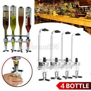 4 Bottles Wine Liquor Dispenser Wall Mount Stand Drinks Beer Bar Butler Home