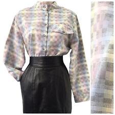 Ladies 1980s Vintage Blouse Size 10 12 ST MICHAEL Pastels Gingham Check Folk M&S