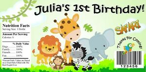 20 BABY ANIMAL SAFARI JUNGLE BIRTHDAY PARTY FAVORS WATER BOTTLE LABELS WRAPPERS