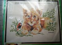 "Paragon Giordano LION CUB  Stamped Cross Stitch Kit 12"" X 18"" NIP"