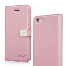 Custodia FLIP cover CON LACCIO Ailun per Apple iPhone 5 5S ROSA clip magnetica