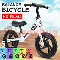 "Kids Balance Bike Ride On Toys Push Bicycle Wheels Toddler Baby 12"" Bikes"