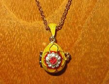 FABERGE Yellow Red Flower ENAMEL Swarovsky Crystals EGG inside bead pendant GIFT
