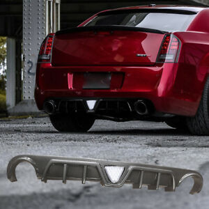 Rear Diffuser Lip For 2012-2014 Chrysler 300 SRT With LED Light Carbon Style ABS